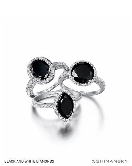 Natural black diamond rings - Shimansky