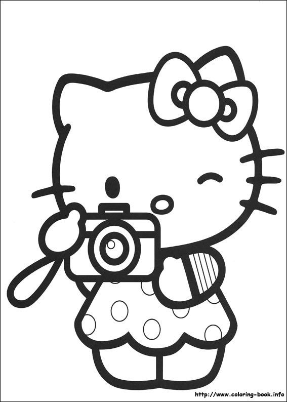 hello kitty taking a picture coloring page - Kitty Doctor Coloring Pages