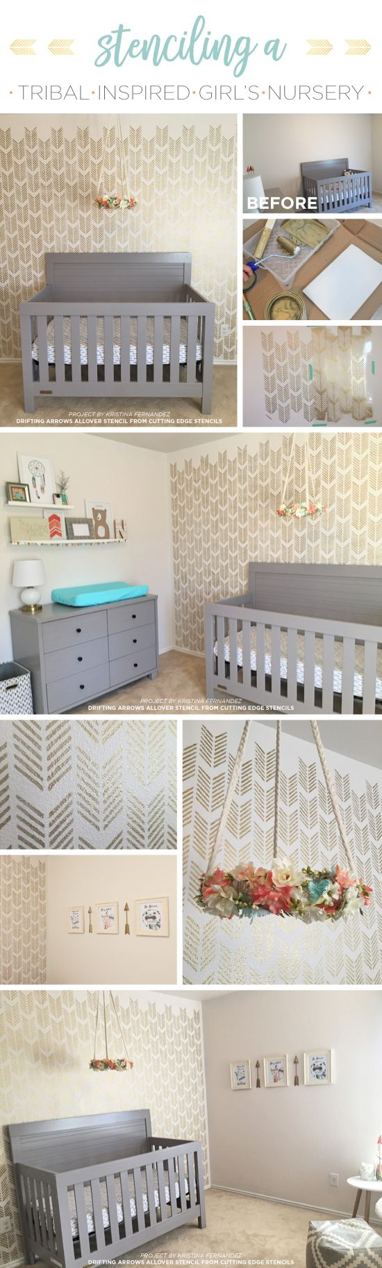 518 best nursery kids room stencils images on pinterest wall cutting edge stencils shares a diy stenciled girls nursery accent wall using the drifting arrows stencil amipublicfo Images