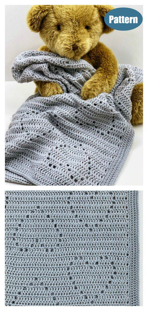 Lace Heart Baby Blanket Crochet Pattern