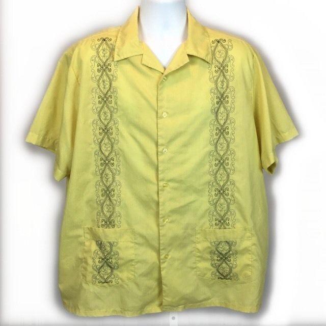 Vintage Haband Guayabera Rare 2 Pocket Embroidered Cuban Cigar Mexican Shirt- XL #HabandGuayabera #Guayabera