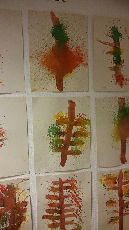 Höst tavlor gjorda med pensel och diskborste.