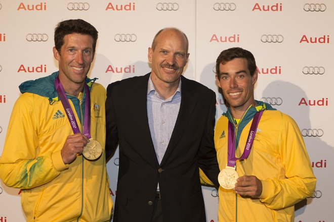 Audi managing director Uwe Hagen flanked by 470 class gold medal winners Malcolm Page and Mat Belcher at Hamilton Island Race Week.    Photography: Andrea Francolini / afrancolini.com