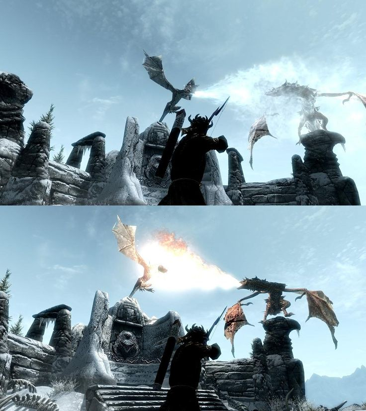 #Skyrim Dragon fight via Reddit user RadWalk