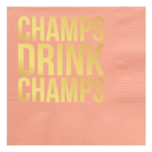 Champs Drink Champs Gold Foil Beverage Napkins | Pair with a bottle of champagne for the perfect hostess gift {especially New Years!}