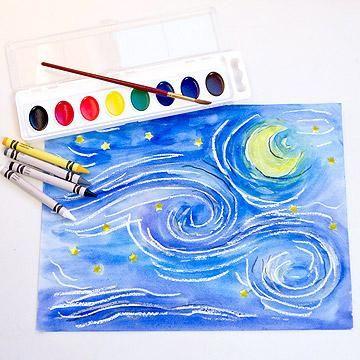 Van Gogh's noch estrellada. 1° dibujar con lápiz cera blanco o vela 2 comenzar a pintar con acuarelas
