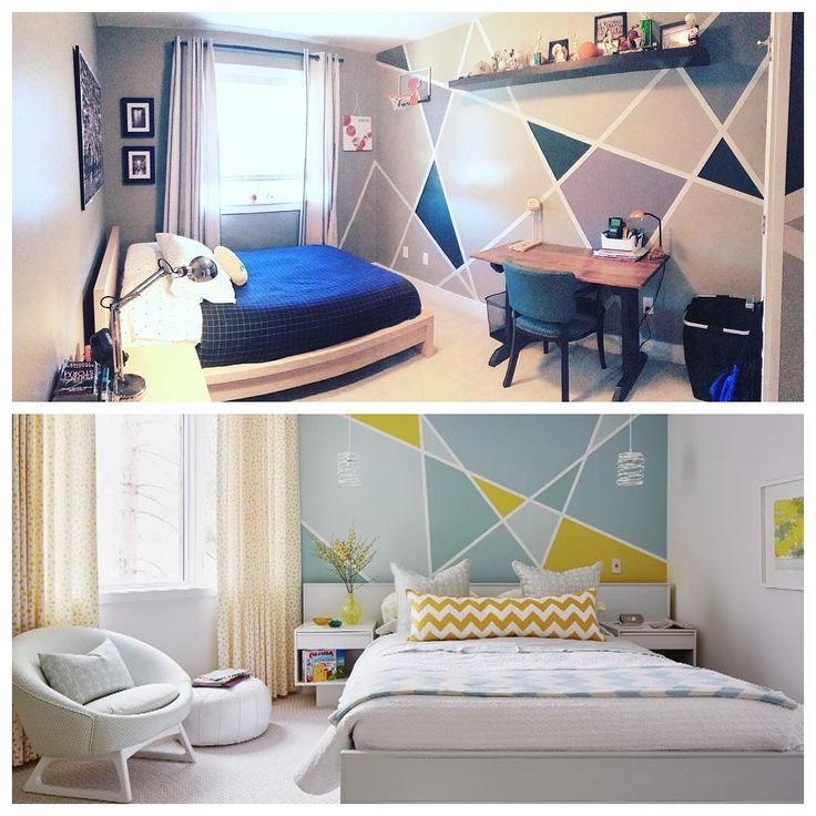 How awesome is this!! @Nonisense, a mom of four from Langley, BC, created her own bold geometric wall treatment for her 16 year old son's bedroom that was inspired by the paint project featured in my new book #AtHomeSarahStyle! This geometric wall is achieved with a roll of painter's masking tape and three quarts of paint. The best part about a pattern like this is that it takes minutes to tape it up, and you can instantly see if you like what you've designed before you commit the time and…