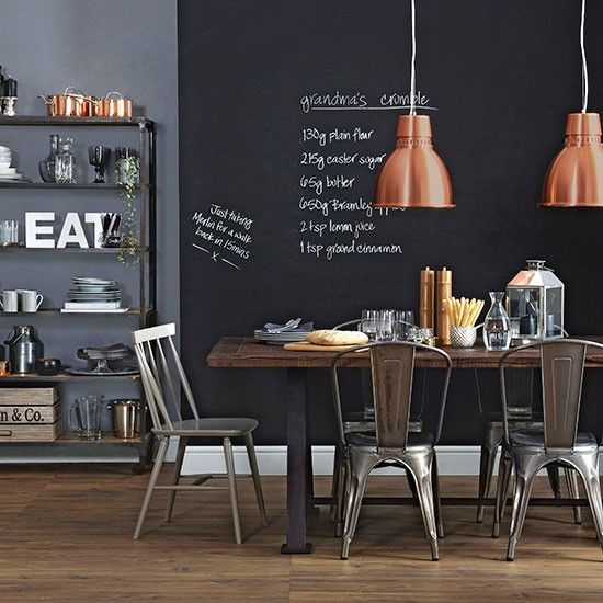 Dining room with blackboard wall | Dining room decorating | Ideal Home | Housetohome.co.uk
