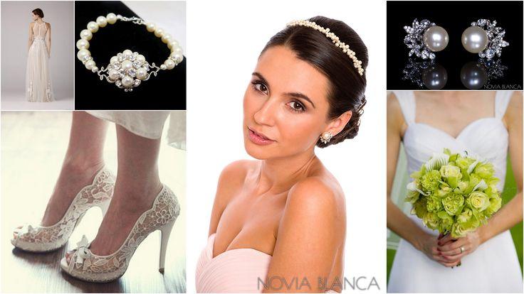 boho lime bride  biżuteria ślubna - kolczki i opaska www.novia-blanca.pl