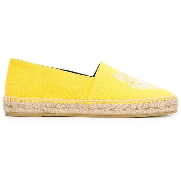 Kenzo 'Tiger' espadrilles ($220) ❤ liked on Polyvore featuring shoes, sandals, kenzo, espadrille sandals, flat soled shoes, yellow sandals and yellow espadrilles