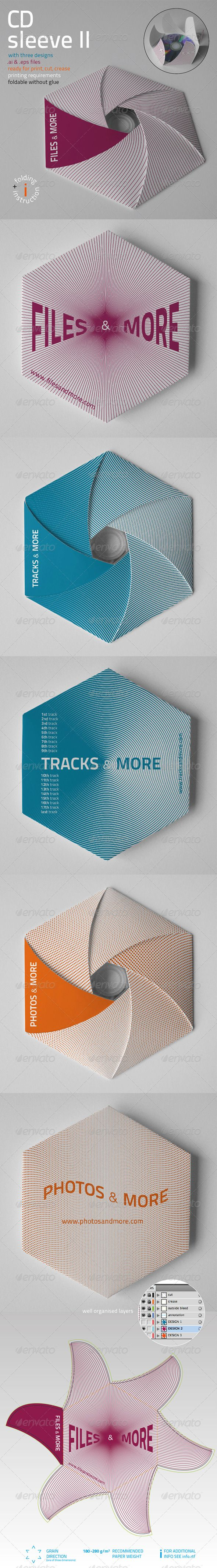 CD Sleeve v2 #GraphicRiver CD sleeve packaging Font from this link Failes included .ai & .eps (CS2-CS5) Ready for print, cut, crease Well organized layers Foldable without glue Tested construction Recommended paper weight: 180 – 280 g per square meter Printing requirements Folding instructions included
