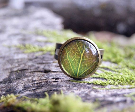 Green leaf glass dome statement ring adjustable by InviolaJewerly