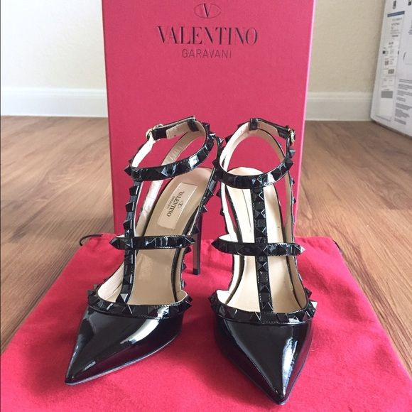 VALENTINO Rockstud All Black Patent Leather 6.5, 7 This is from the Punkouture collection in a size EU 37, but would best fit a 6.5 as Rockstud slingback pumps run half a size small. There are minor, unnoticeable scratches on the hardware from the ankle strap rubbing against it and a couple of faint scuffs on the right side of the left shoe which are also unnoticeable since it's on the inner side. It's in otherwise excellent condition, having been worn only twice. Comes with the original box…