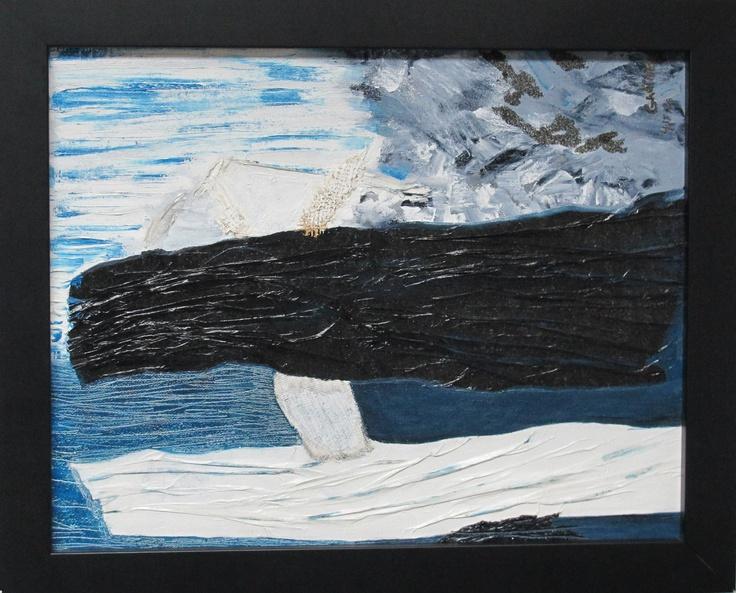 Titre de l'œuvre : 4:15 AM Évasion  Année de réalisation : 2010  Médium : huile, jute, papier, poussière de sable sur toile  Grandeur : 14 X 11  L'œuvre est encadrée  Prix de départ: 150$