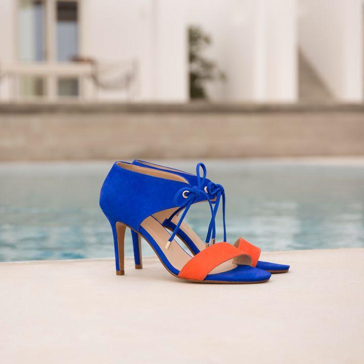 Sandales à Talon bleu aztek & orange - La Java - Bobbies