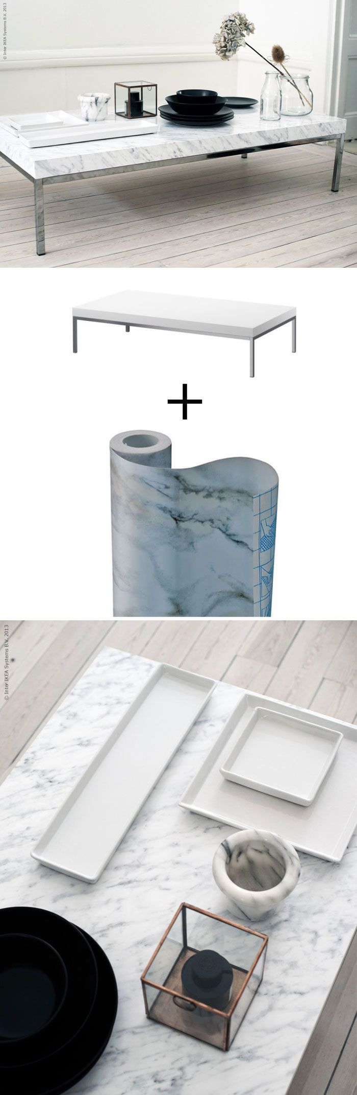 DIY Marble Coffee Table | IKEA Coffee Table + Marble contact paper