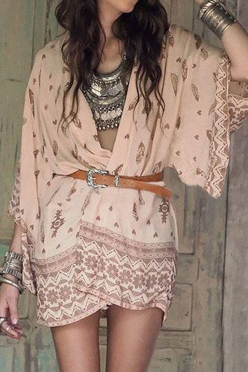 Bohemian Print Long Sleeve Chiffon Kimono from mobile - US$11.95 -YOINS