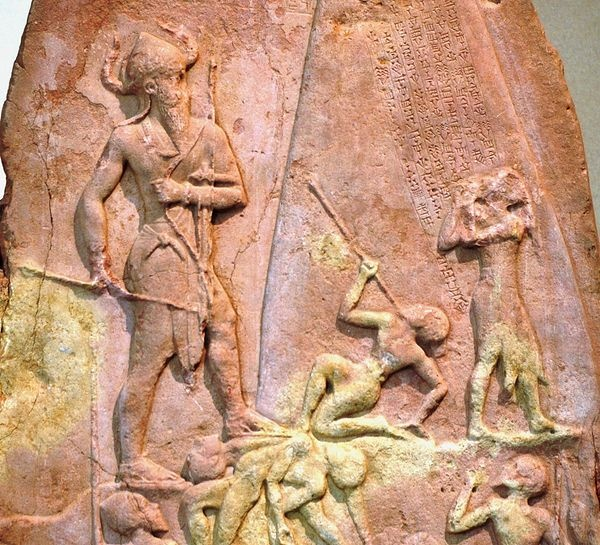 Akkadian Empire - Stele of Naram-Sin,[20] celebrating victory against the Lullubi from Zagros 2260 BC.He is wearing a horned helmet, a symbol of divinity and is also portrayed in a larger scale in comparison to others around to display his superiority.[21]. Brought back from Sippar to Susa as war prize in the 12th century BC