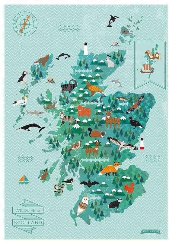 Wildlife Map of Scotland print por finchandrobin en Etsy
