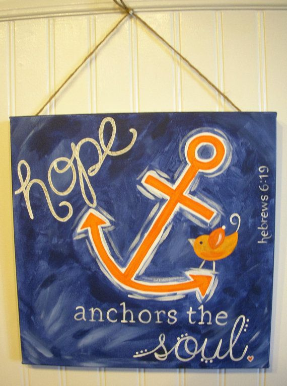 Hope anchor canvas painting 11 x 14 Canvas Original artwork