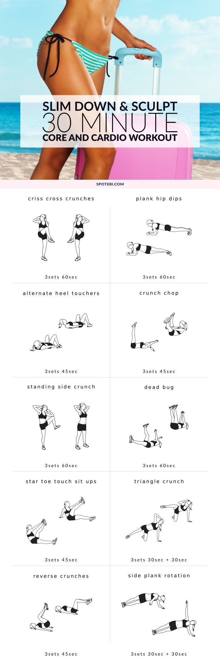 Tone your core, tighten your tummy and trim body fat with this 30-minute workout. A no-equipment do-anywhere circuit designed to slim down your waist and sculpt a sexy, toned body. http://www.spotebi.com/workout-routines/slim-down-sculpt-30-minute-workout/
