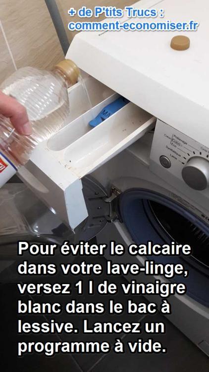 Découvrez l'astuce pour ne plus JAMAIS acheter du Calgon pour votre machine à laver :-)  Découvrez l'astuce ici : http://www.comment-economiser.fr/contre-calcaire-plus-besoin-calgon-utilisez-vinaigre-blanc.html?utm_content=bufferd659a&utm_medium=social&utm_source=pinterest.com&utm_campaign=buffer