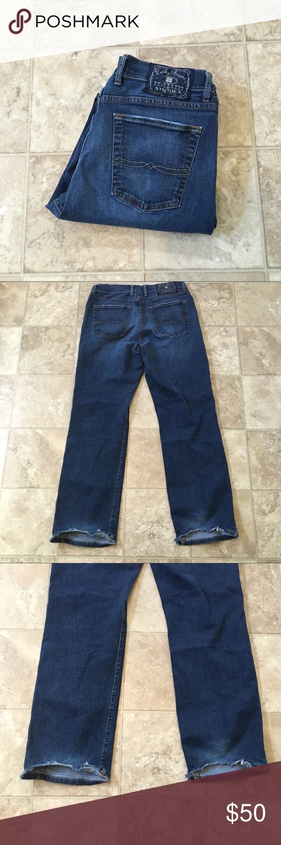 """LUCKY BRAND MENS BOOTCUT Jeans Size 34 Inseam 31 LUCKY BRAND MENS BOOTCUT Jeans Size 34 Inseam 31 Across the waist 17"""" W 34 Rise 12"""" SIGNS OF WEAR AT THE BOTTOM OF JEANS!  SAME DAY SHIPPING! SMOKE FREE ENVIRONMENT!   ALL OFFERS CONSIDERED Lucky Brand Jeans Bootcut"""