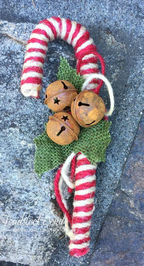 ef22ca704c0 Striped Jute Candy Cane Candycane Ornament Candy Cane Gift