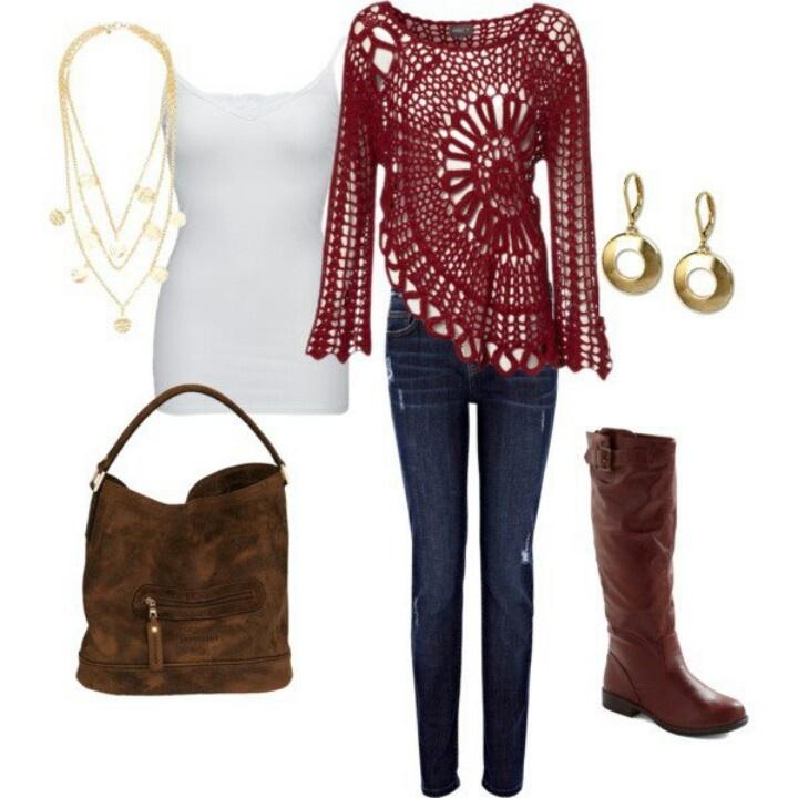 blusa roja tejida crochet beautiful and tops