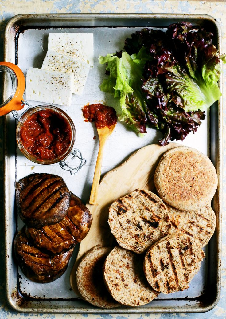 Portobello Burgers with Roasted Red Pepper Tomato Jam and ...