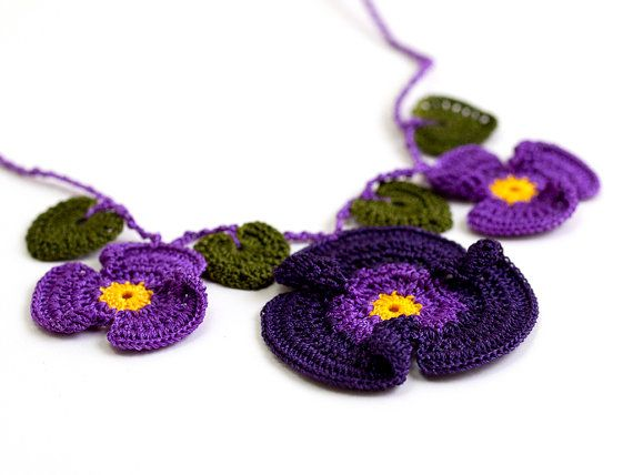 Crochet Lace Violet Necklace Yellow Purple Hippie by PinaraDesign