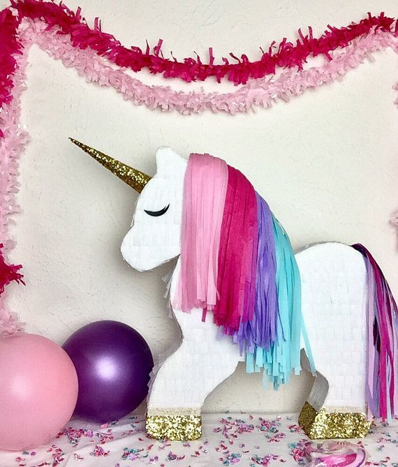**PLEASE read shop announcement for current turn around times. All piñatas are shipped out in order of event/need by date, so PLEASE indicate when you need your piñata innotes to seller during checkout.** Our beautiful unicorn piñatas are the perfect addition to use for your