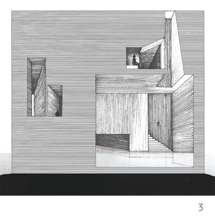 Céline Jesberger and Pierre-Louis Filippi - Section Drawings for their project, long and monumental slab in a Venice island