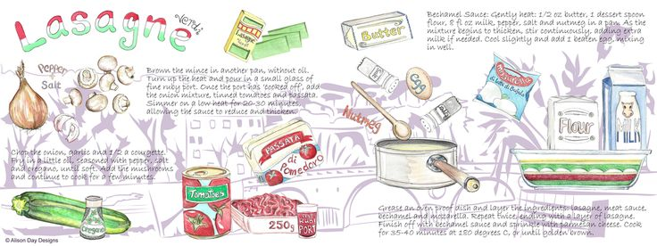 Lasagne recipe illustration by Alison Day #food #drink #cookery #cookerybooks #illustration  Newsletter - for more info and creativity: http://alisonday.us8.list-manage.com/subscribe?u=f0ee923eb109c974f6e7d72c2&id=d783011ad5