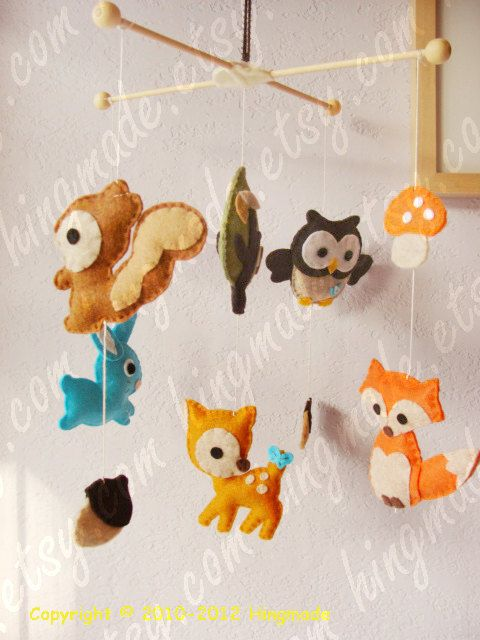 Baby Mobile - Modern Mobile - Ceiling Hanging Mobile - Woodland Deer Fox Owl Bunny Forest Friends Animals (U can pick your colors)