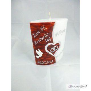 Hochzeitstag Kerze   Oval 15  cm groß -  Herz...
