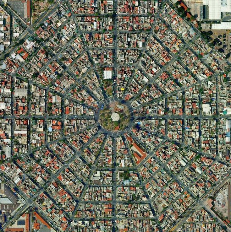 The varied street grid types of Mexico City..or the main headquarters of the Dharma Initiative?