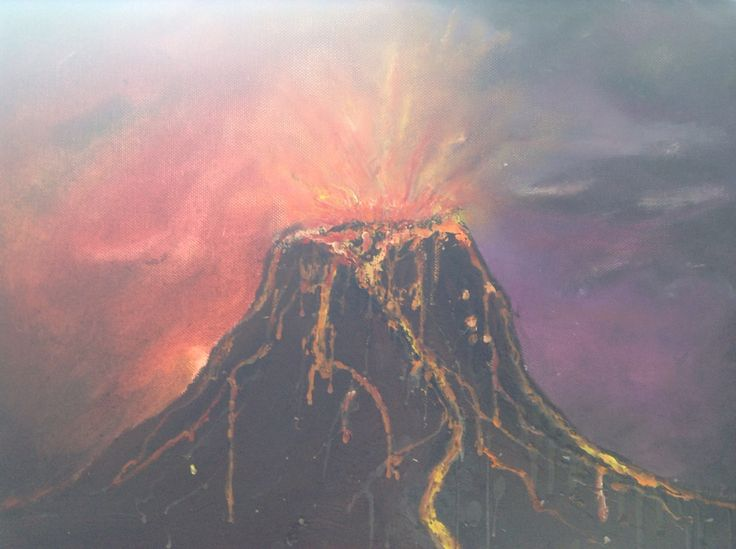 My volcano oil paint made with melted wax and water soluble oils