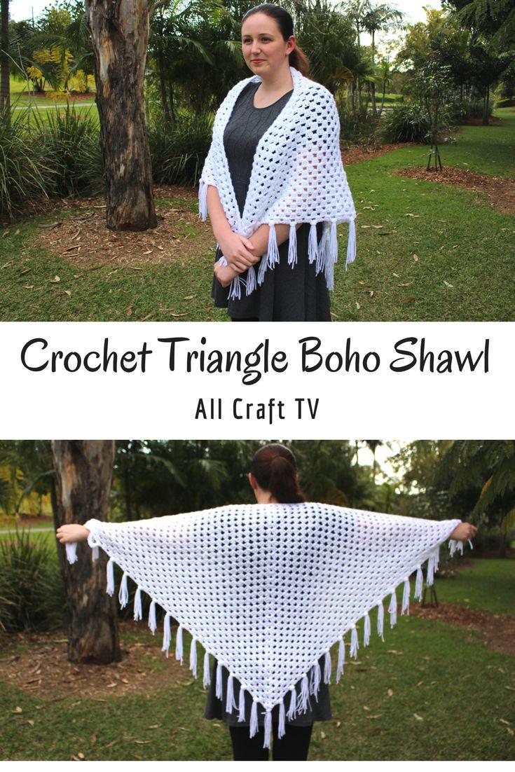 Crochet Boho Triangle Shawl