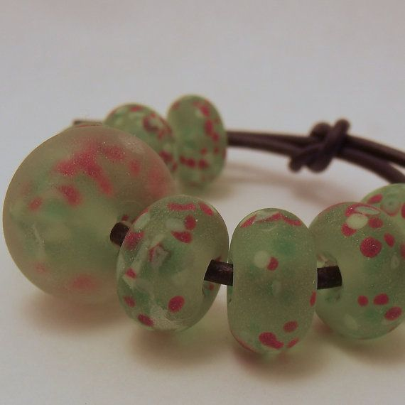 Fresh green frit speckled frosted glass beads  by ALittleTrinket, £6.00