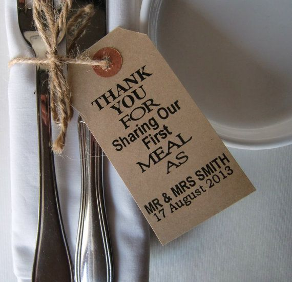 Wedding Napkin Holders-Rustic Wedding Table Decor-Vintage Type Luggage Tags-Thank You for Sharing-Set of 10-Wedding Table Decorations on Etsy, $26.95