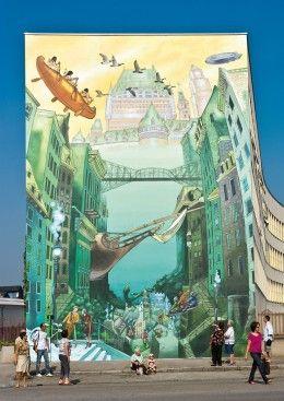 The Murals of Lyon, France: Lyons Murals, Building Murals, Lyons France, Building Art, Wall Murals, Street Art, Murals Art, La Cité, Art Lyons