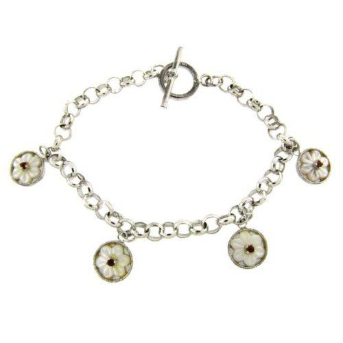 Sterling Silver Mother Of Pearl Flower Toggle Bracelet LEAH HANNA. $19.99. Save 50% Off!