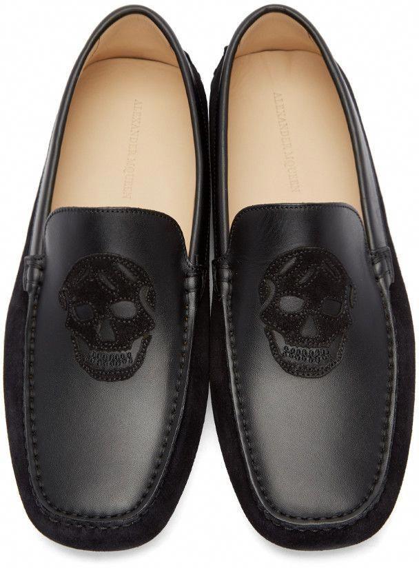 ef12c6ca7a7d1 Alexander McQueen - Black Suede Skull Loafers #AlexanderMcQueen ...