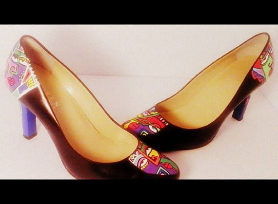 HAND PAINTED One of a kind shoe. Picasso Aztek style colorful