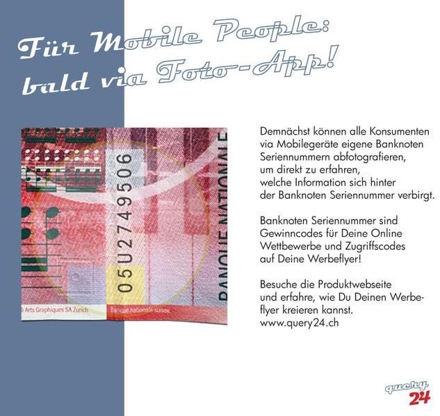 Banknoten Seriennummer abfotografieren und sofort erfahren, wo & was gewonnen wurde!  query24.ch