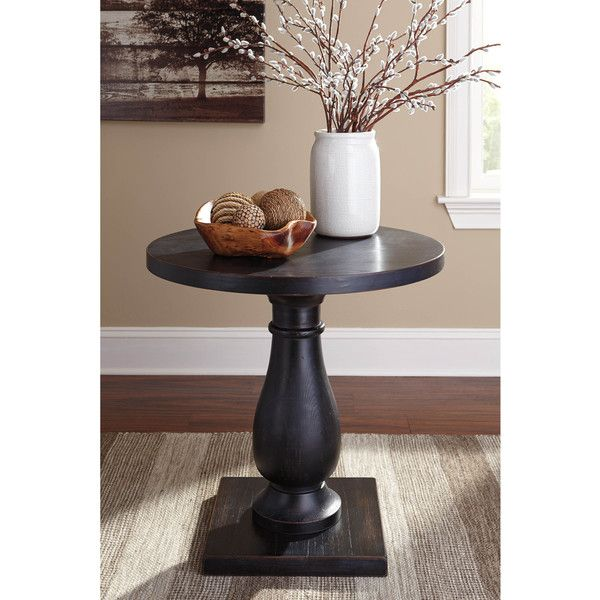 Signature Design by Ashley Vennilux Black Round End Table ($180) ❤ liked on Polyvore featuring home, furniture, tables, accent tables, black, square end tables, round wood side table, black end tables, round wood end table and black wood end table