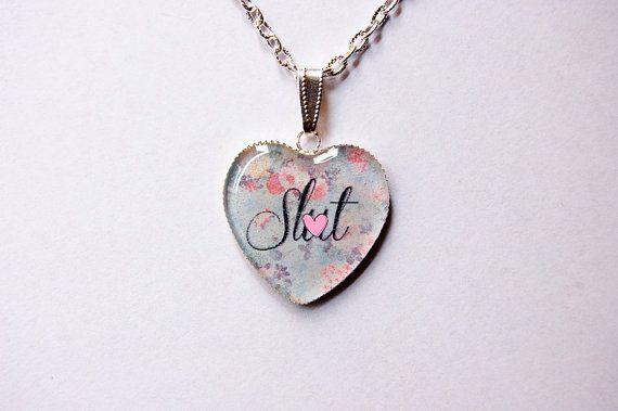 "Mature Content - Sl""t On Retro Floral Fantasy - Handmade  Heart Cameo Pendant Necklace - Funny Bachelorette Gift"