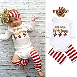 AMA(TM) Baby Boy Girl Christmas Set Romper Jumpsuit Bodysuit + Hairband + Leg Warm (6M, White)