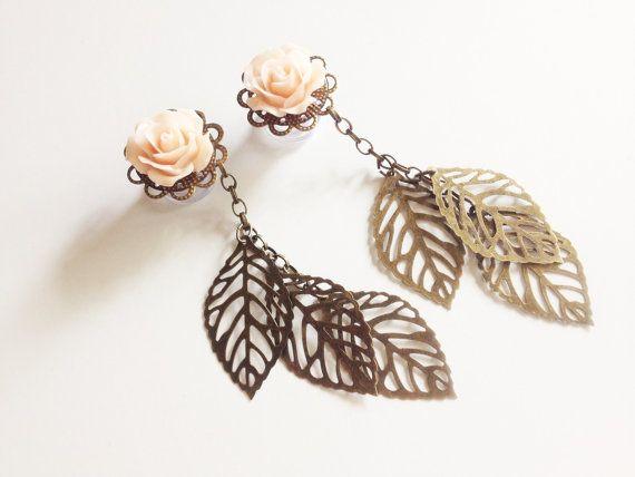 00g Dangle Plugs Rose Plugs with Dangles Choose Color 9/16, 1/2 Gauges - Gauged Earrings Ear Plugs via Etsy